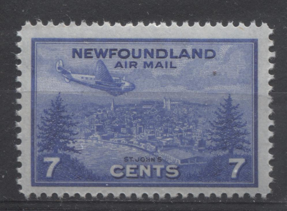 Newfoundland #C19 (SG#291) 7c Deep Ultramarine 1943 St. John's Airmail Issue VF-75 NH Brixton Chrome