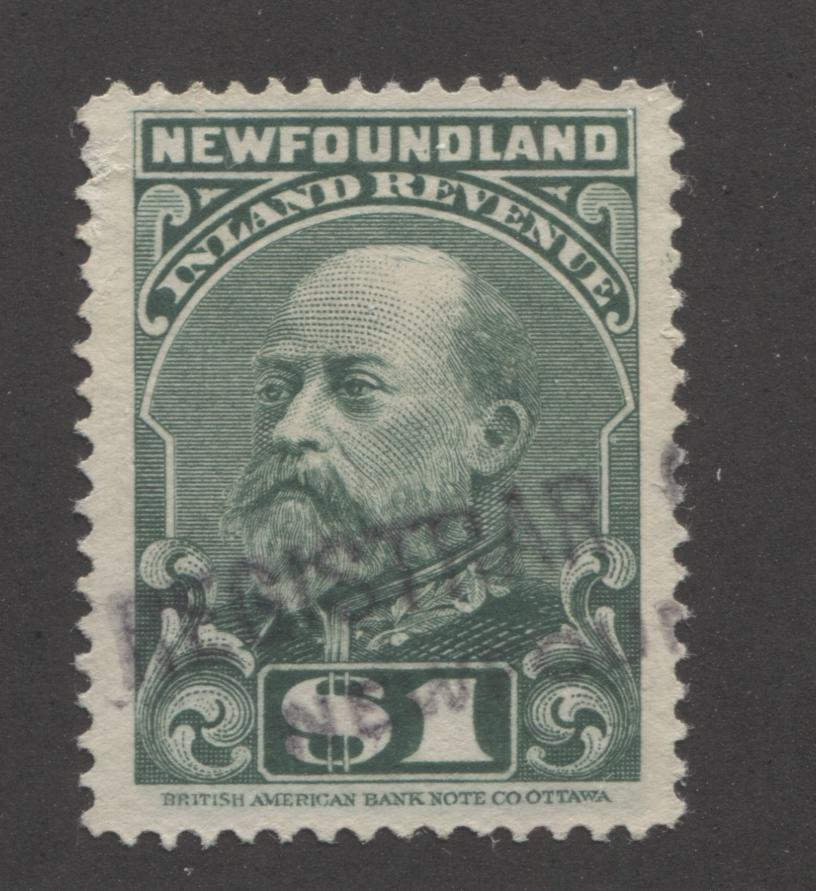 Newfoundland #NFR12 $1 Green King Edward VII, 1907 Inland Revenue Issue A Very Fine Used Single on Soft Horizontal Wove Paper Brixton Chrome