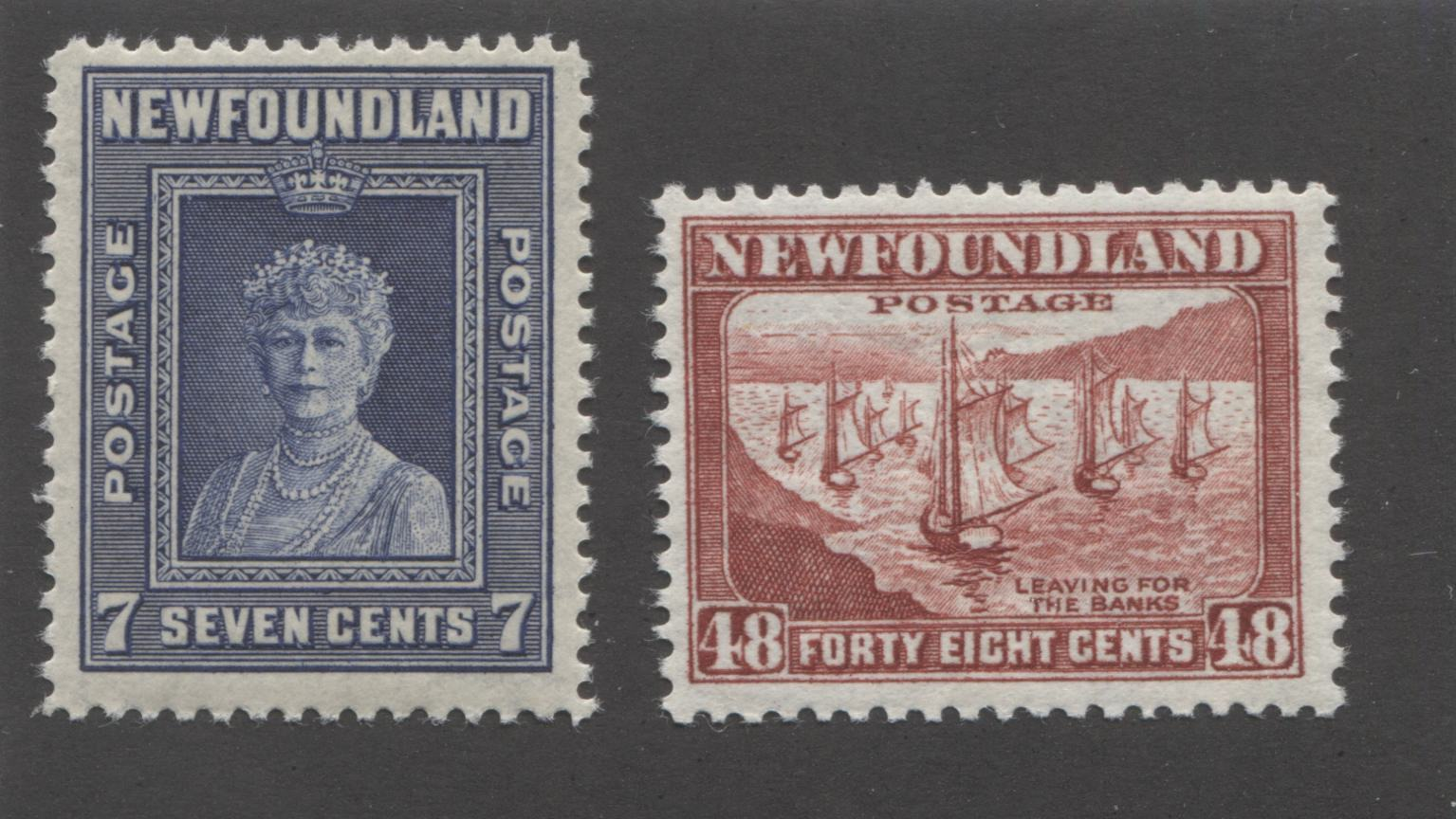 Newfoundland#258, 265 7c Violet Blue and 48c Lake Brown Queen Mother Mary and Leaving for the Banks, 1941-1944 Second Resources Issue Fine Mint NH, Line Perf. 12.6 Brixton Chrome