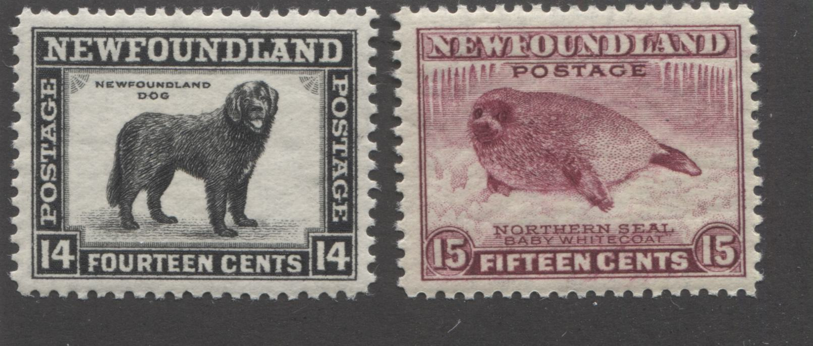 Newfoundland#261-262 14c Black and 15c Claret Newfoundland Dog & Northern Seal, 1941-1944 Second Resources Issue Very Fine Mint NH Singles, Line Perf. 12.5 x 12.6 and 12.75 x 12.5 Brixton Chrome