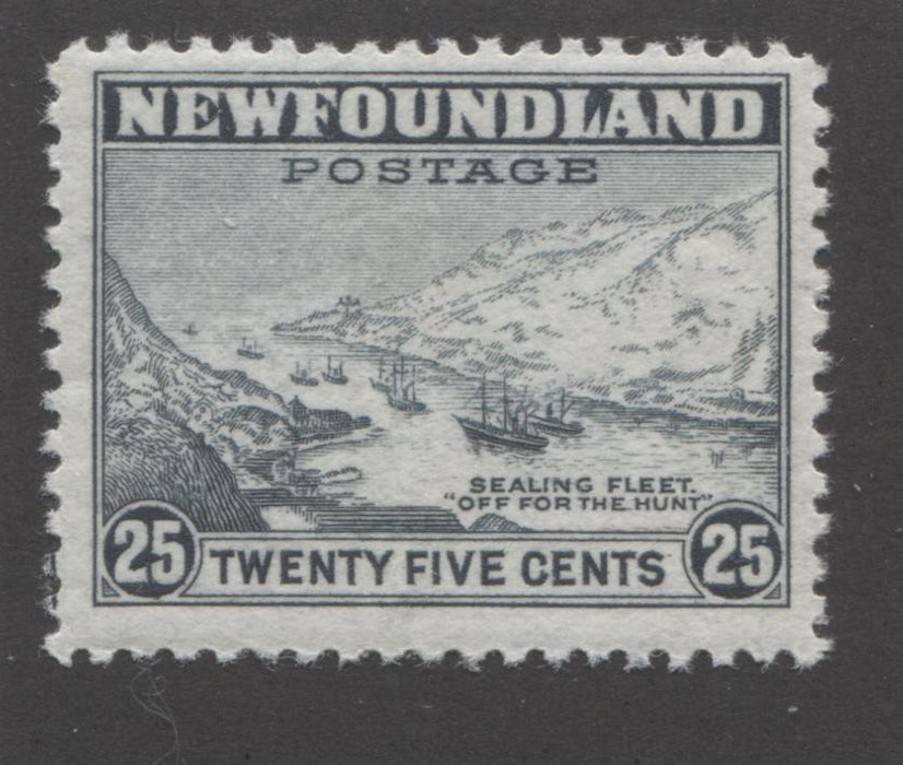 Newfoundland#265 25c Slate Sealing Fleet, 1941-1944 Second Resources Issue Fine Mint NH, Line Perf. 12.5 Brixton Chrome