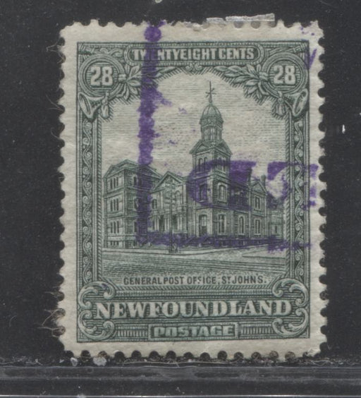 Newfoundland #158 28c Deep Green General Post Office 1928-1929 Publicity Issue, A Very Fine Used Example of the Line Perf. 14.4 x 14.2