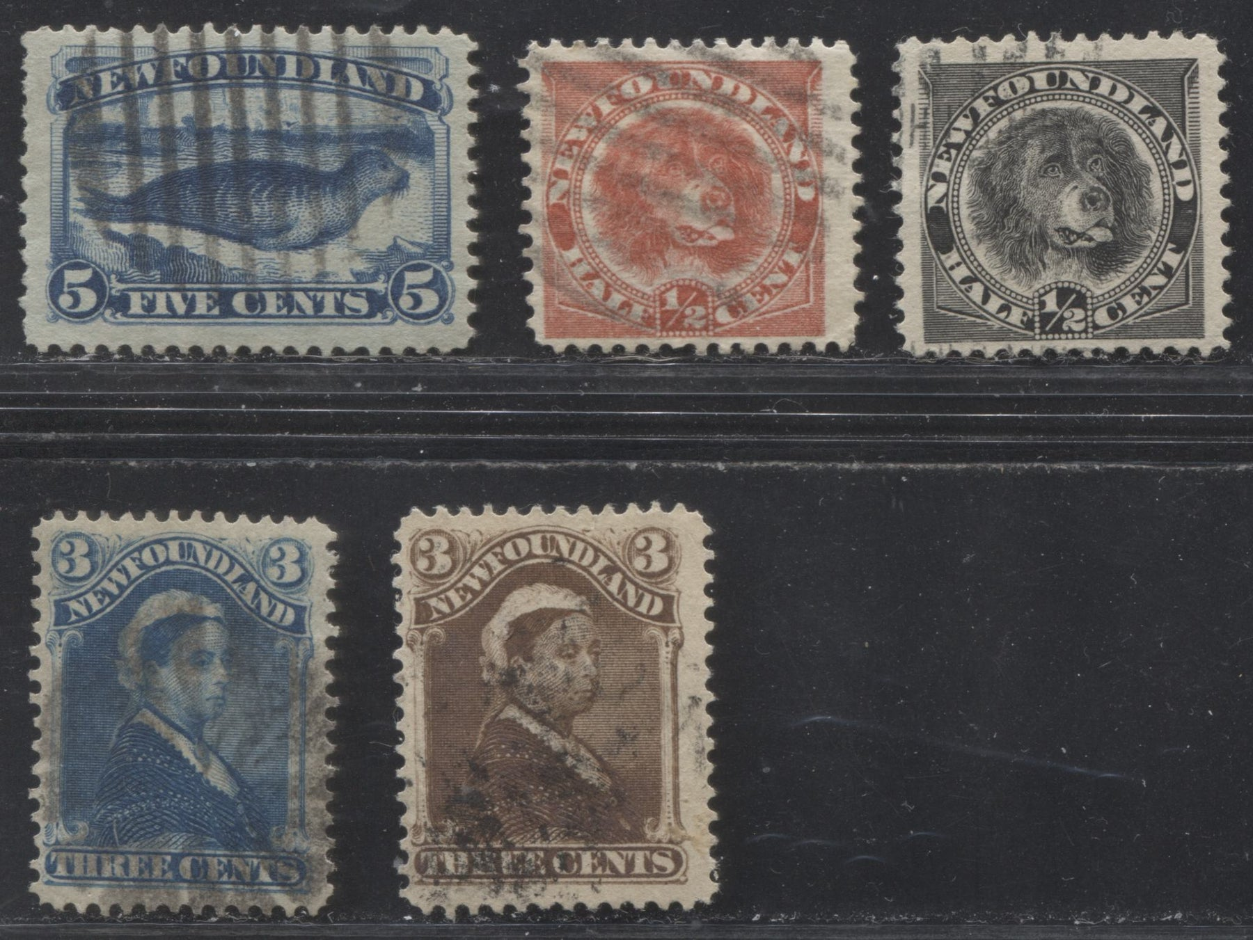 Newfoundland #49, 50, 54, 56, 58 1/2c Black - 5c Dark Blue 1887-1896 Third Cents Issue, Fine Used Examples of Several Valus of the Set