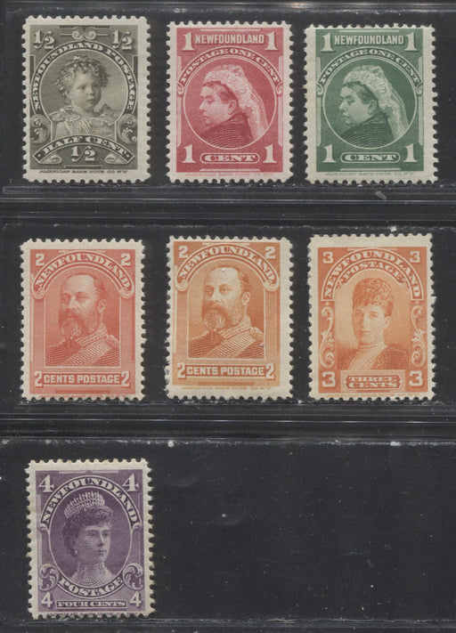 Newfoundland #78-84 1/2c Olive - 4c Violet 1897-1901 Royal Family Issue, a A Nearly Complete Fine Mint Set