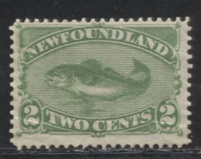 Newfoundland #46i 2c Deep Yellow Green Codfish 1880 Cents Issue, A Fine Mint Disturbed OG Example of the Montreal Printing on Stout Horizontal Wove Paper, Perf. 12.1
