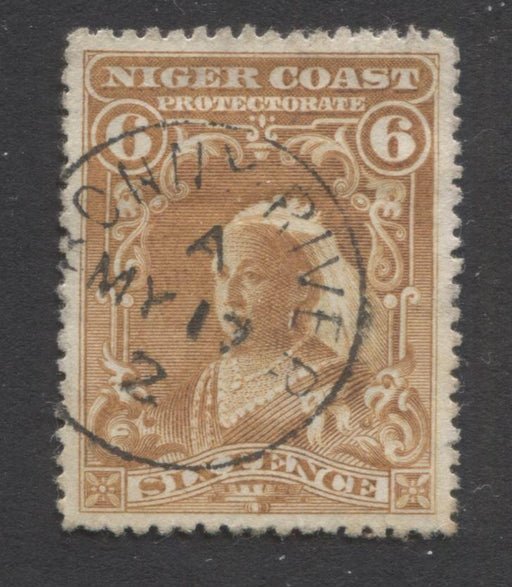 Niger Coast Protectorate SG#71a 6d Yellow Brown Queen Victoria, 1897-1906 Watermarked Issue, Line Perf. 14, Very Fine Used, With May 17, 1902 Bonny River CDS Cancel Brixton Chrome