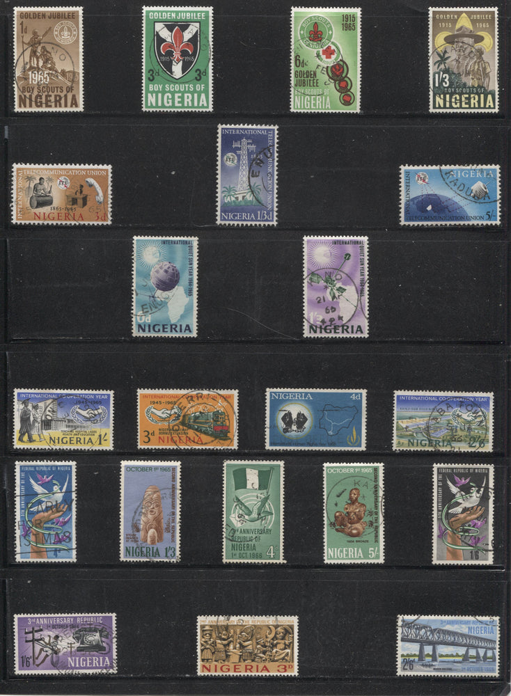 Nigeria SG#157/214 1965-1968 Commemoratives, Nearly Complete Used Set of 43 VF CDS Used Stamps Brixton Chrome