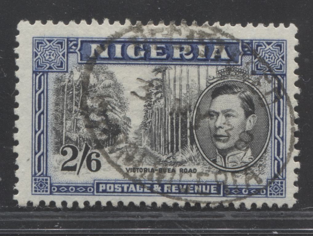 "Nigeria SG#58 2/6d Black and Blue, Victoria-Buea Road, 1938-1952 King George VI ""Palm Tree"" Definitive Issue, a VF Used Example of the 1938 Perf. 13 x 11.5 Printing"