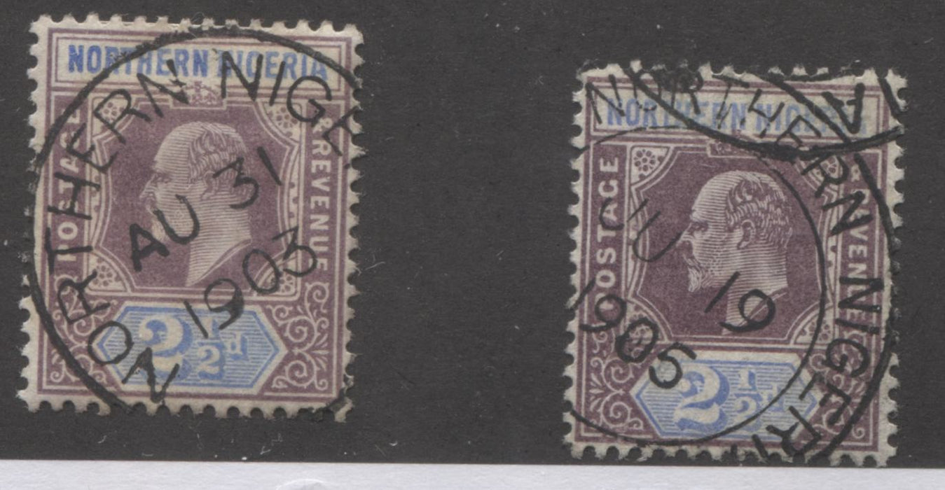 Northern Nigeria SG#23 2.5d Dull Violet and Ultramarine King Edward VII, 1902-1905 Single Crown Keyplate Issue, Two Very Fine Used Stamps, Each A Different Printing With 1903 and 1905 Dated CDS Cancels Brixton Chrome