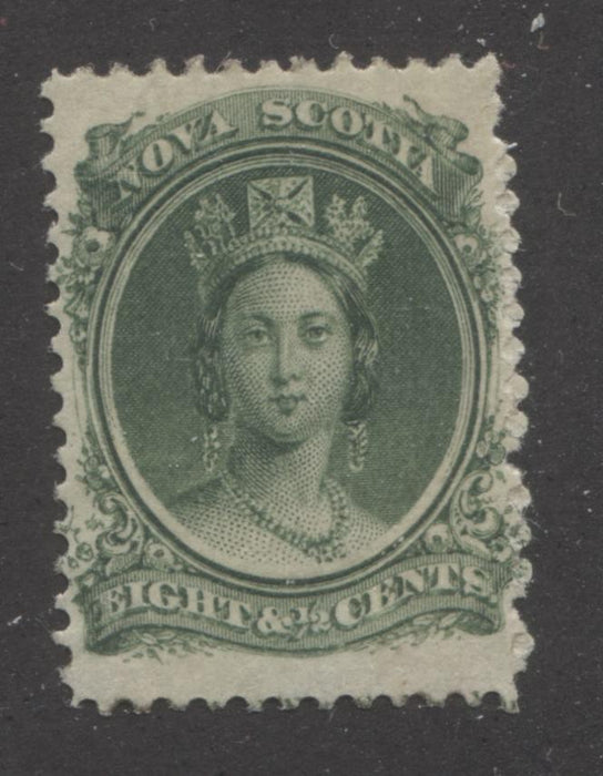 Nova Scotia #11a 8.5c Deep Green Queen Victoria, 1860-1867 Cents Issue, A Very Fine Mint Example on White Paper Brixton Chrome