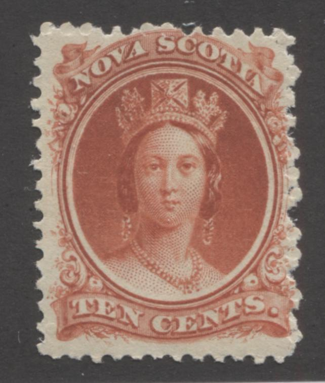 Nova Scotia #12 10c Deep Vermilion, Queen Victoria 1860-1867 Cents Issue A Fine Mint NH Example on the White Paper, Perf. 11.75 x 12 Brixton Chrome
