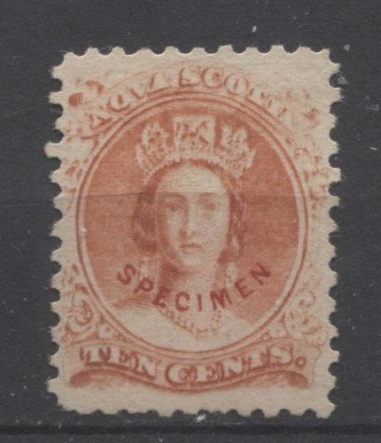 Nova Scotia #12F (SG#28) 10c Vermilion Queen Victoria Cents Issue Forgery F-65 Unused Brixton Chrome