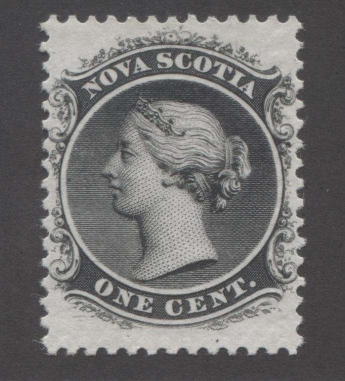 Nova Scotia #8a 1c Black, Queen Victoria 1860-1867 Cents Issue A Very Fine NH Example on the White Paper, Perf. 11.75 x 12 Brixton Chrome