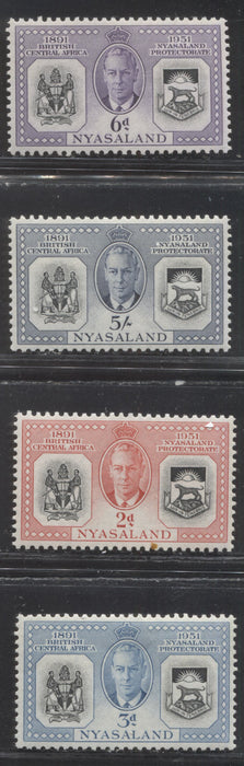 Nyasaland SG#167-170 2d - 5/- 1951 Diamond Jubilee of the Protectorate Issue, a VFLH Set