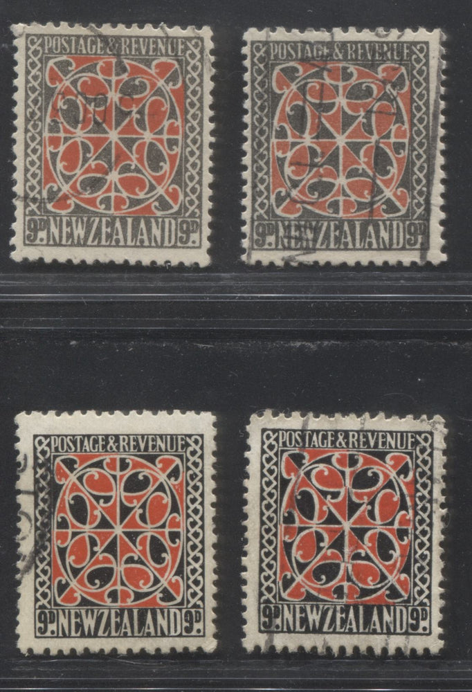 New Zealand SG#587-587b, 630-631 9d Red & Grey and 9d Scarlet & Black, 1936-1942 Pictorial Defintive Issue, Fine and VF Used Examples of Both Large and Small Designs and Both Listed Watermarks and Perfs.