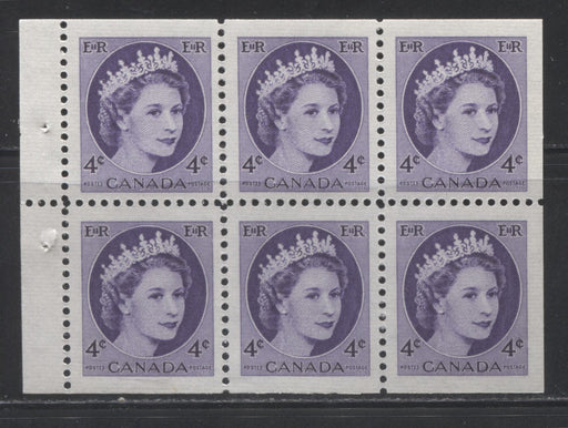 Canada #340b 4c Deep Violet Queen Elizabeth II, 1954-1962 Wilding Issue, a VFNH Booklet Pane of 6, Printed on Dull Fluorescent Ribbed Paper