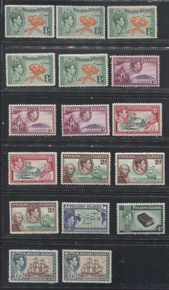 Pitcairn Islands SG#1-6 1/2d Green & Orange - 6d Brown & Deep Greenish Grey, 1940-1951 Pictorial Definitive Issue, A Complete Set of the 1/2d to 6d Values With Extra Printings