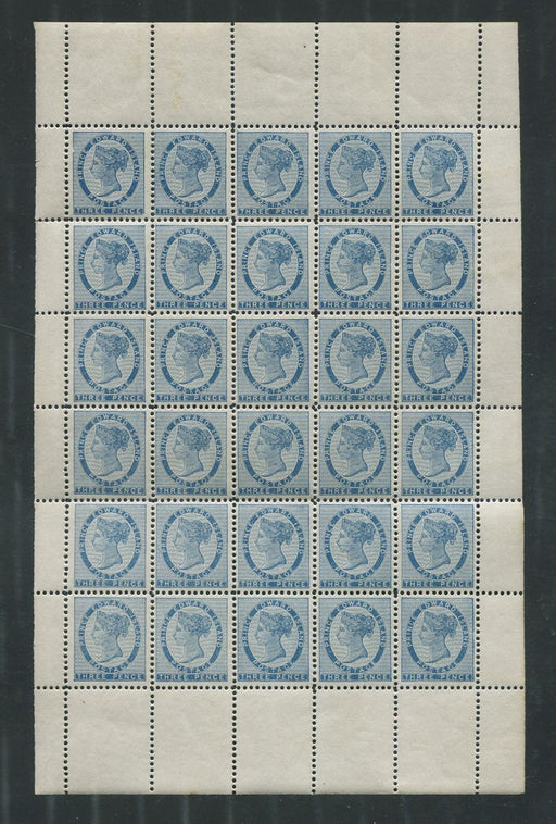 Prince Edward Island #6 (SG#30) 3c Blue 1862 Pence Issue Complete NH Sheet of 30 - VF-75 Brixton Chrome