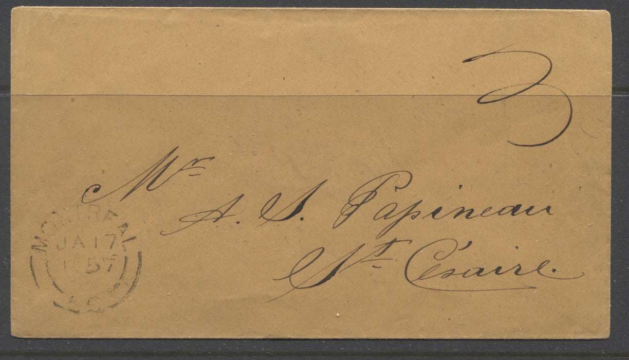 Pristine January 1857 Stampless Cover to A.J Papineau, Son of Louis Joseph Papineau Brixton Chrome