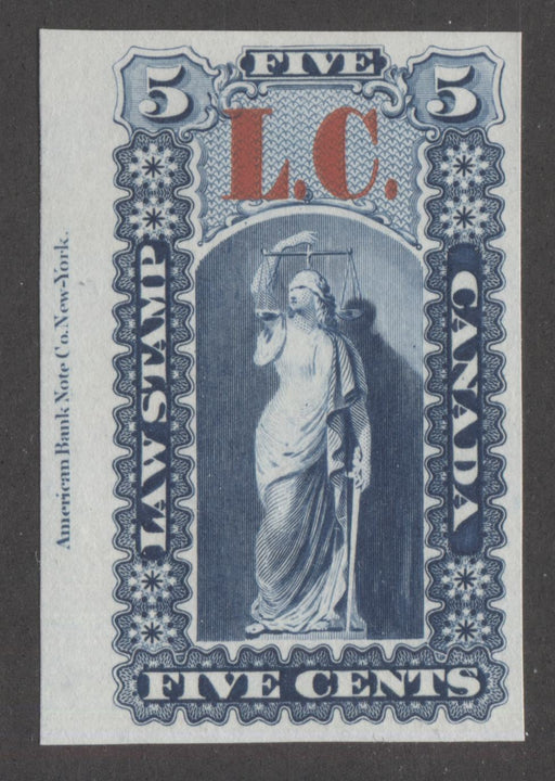 Quebec #QLP1 5c Deep Blue and Carmine Red, Justice and Scales, 1864 Law Issue Overprinted L.C., VF Plate Proof on India Paper Brixton Chrome