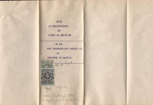 Quebec #QR16, QR18 5c & 15c 1912 Registration on 1913 Lien Notice - VF-81 Brixton Chrome