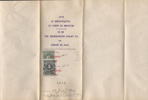 Quebec #QR16, QR18 5c & 15c 1912 Registration on 1913 Lien Notice - XF-86 Brixton Chrome