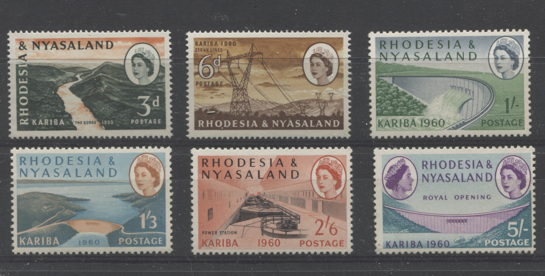 Rhodesia and Nyasaland SG#32-37 1960 Opening of the Kariba Hydroelectric Scheme - Complete VF NH Mint Set Brixton Chrome