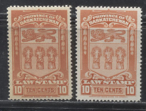 Sakatchewan #SL46, 46a 10c Deep Orange 1938-1968 Second Law Issue, Early and Late Printings, Very Fine Mint NH
