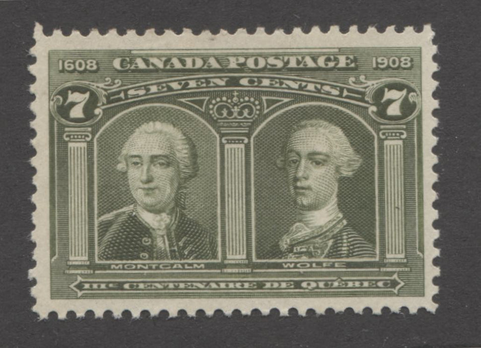 shopify auction Brixton Chrome Canada #100 7c Bright Olive Green Montcalm & Wolfe, 1908 Quebec Tercentenary Issue, A Very Fine Unused Example-141387-86223