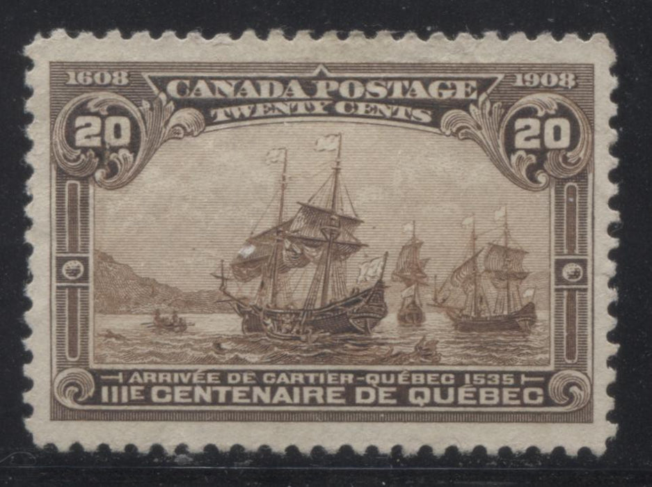 shopify auction Brixton Chrome Canada #103 20c Brown Cartier's Arrival, 1908 Quebec Tercentenary Issue, Fine Unused Single-145981-88834