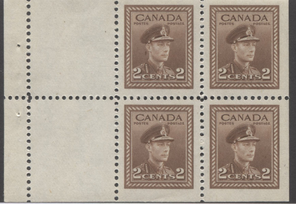 shopify auction Brixton Chrome Canada #250a 2c Brown King George VI, 1942-1949 War Issue, Booklet Pane of 4 + 2 Labels, Very Fine Mint NH-141394-86229