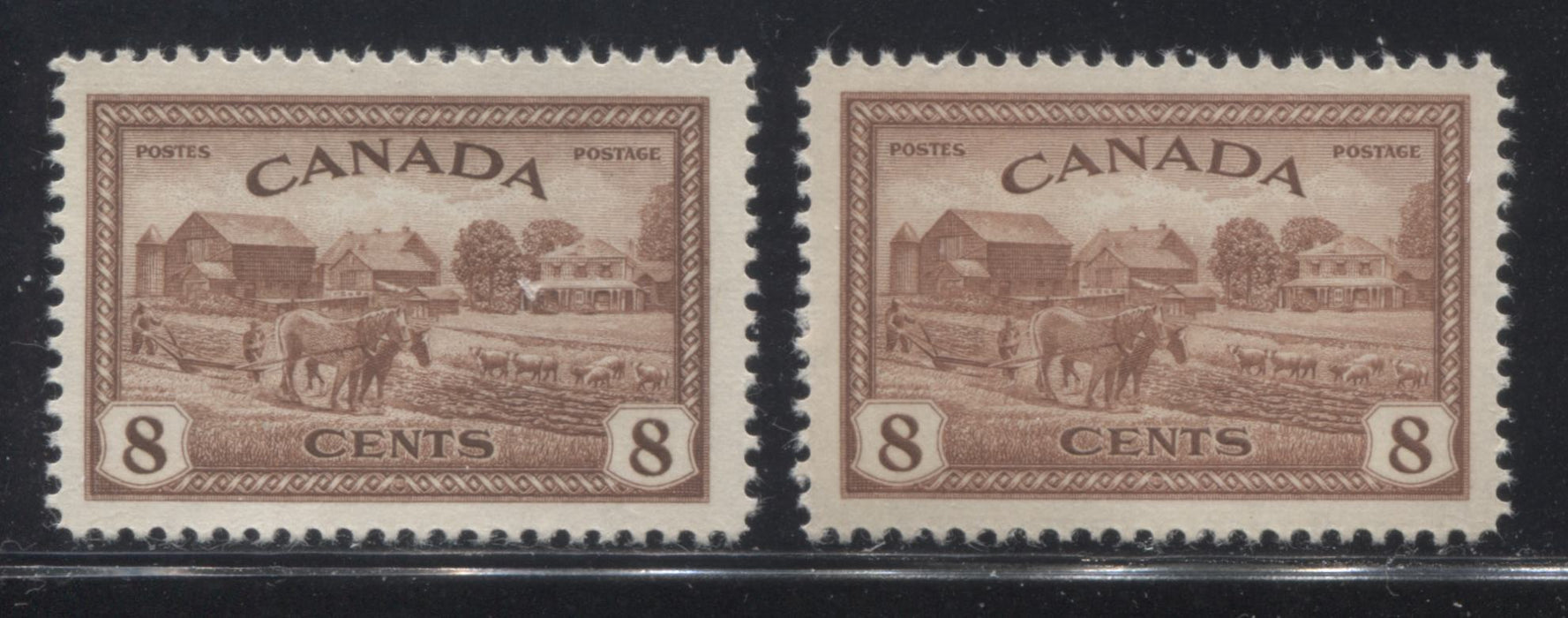 shopify auction Brixton Chrome Canada #268 8c Red Brown Farm Scene, 1946-1951 Peace Issue, Two VFNH Mint Singles, Each a Different Shade-145785-88852