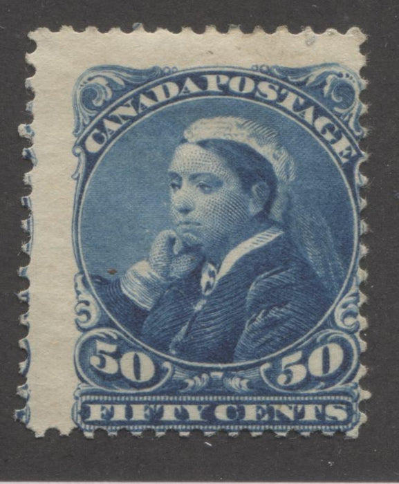 "shopify auction Brixton Chrome Canada #47 50c Dark Blue Queen Victoria ""Widow's Weeds"", 1870-1897 Small Queen Issue, A Good Mint Example-141356-86202"