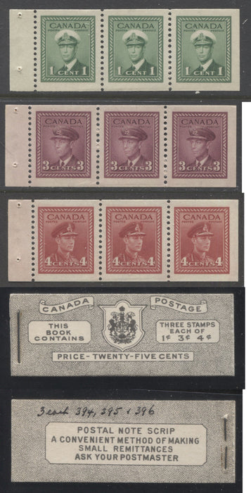 shopify auction Brixton Chrome Canada #BK38a 1942-1949 War Issue Complete 25c, English Booklet Containing 1 Pane Each of 3 of 1c Green, 3c Rose-Purple and 4c Carmine Red, Harris Front Cover Type IVa , Back Cover Hai, 7c & 6c Rate Page-145936-88831