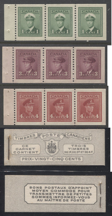 shopify auction Brixton Chrome Canada #BK38a 1942-1949 War Issue Complete 25c, French Booklet Containing 1 Pane Each of 3 of 1c Green, 3c Rose-Purple and 4c Carmine Red, Harris Front Cover Type Vh , Back Cover Jviii, 7c & 6c Rate Page-145805-88841