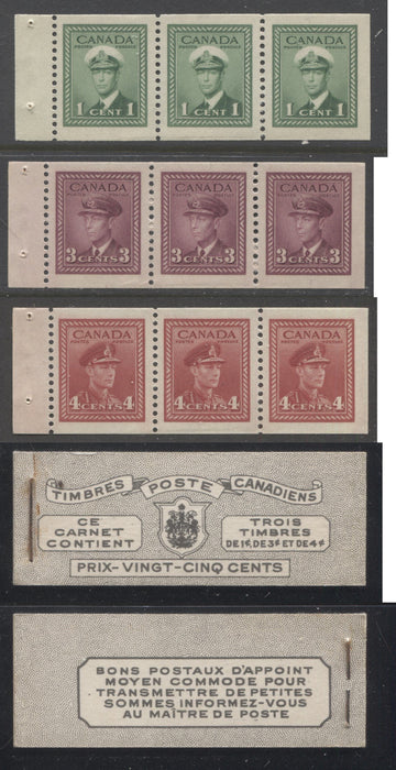 shopify auction Brixton Chrome Canada #BK38a 1942-1949 War Issue Complete 25c, French Booklet Containing 1 Pane Each of 3 of 1c Green, 3c Rose-Purple and 4c Carmine Red, Harris Front Cover Type Vf , Back Cover Jviii, 7c & 6c Rate Page-145847-88825