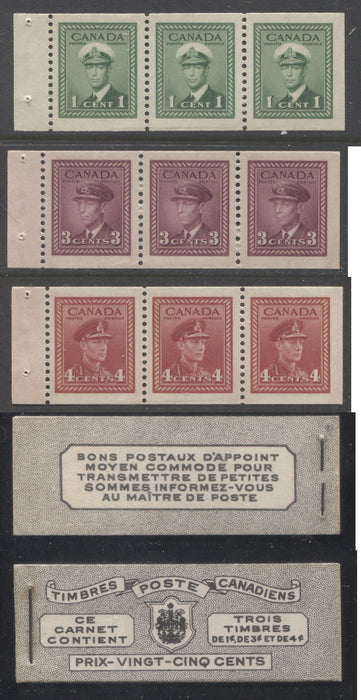 shopify auction Brixton Chrome Canada #BK38a 1942-1949 War Issue Complete 25c, French Booklet Containing 1 Pane Each of 3 of 1c Green, 3c Rose-Purple and 4c Carmine Red, Harris Front Cover Type Vc , Back Cover Jviii, 7c & 6c Rate Page, Ribbed Paper-145871-88839