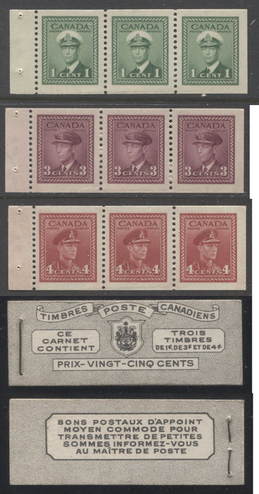 shopify auction Brixton Chrome Canada #BK38a 1942-1949 War Issue Complete 25c, French Booklet Containing 1 Pane Each of 3 of 1c Green, 3c Rose-Purple and 4c Carmine Red, Harris Front Cover Type Va , Back Cover Jiii, 7c & 6c Rate Page-145902-88838