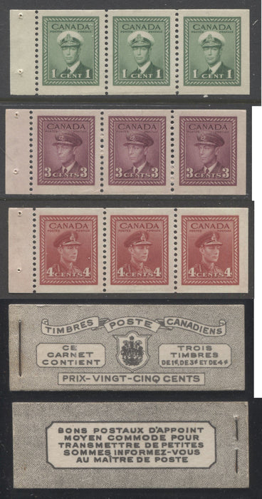 shopify auction Brixton Chrome Canada #BK38a 1942-1949 War Issue Complete 25c, French Booklet Containing 1 Pane Each of 3 of 1c Green, 3c Rose-Purple and 4c Carmine Red, Harris Front Cover Type Vf , Back Cover Jv, 7c & 6c Rate Page-145856-88817