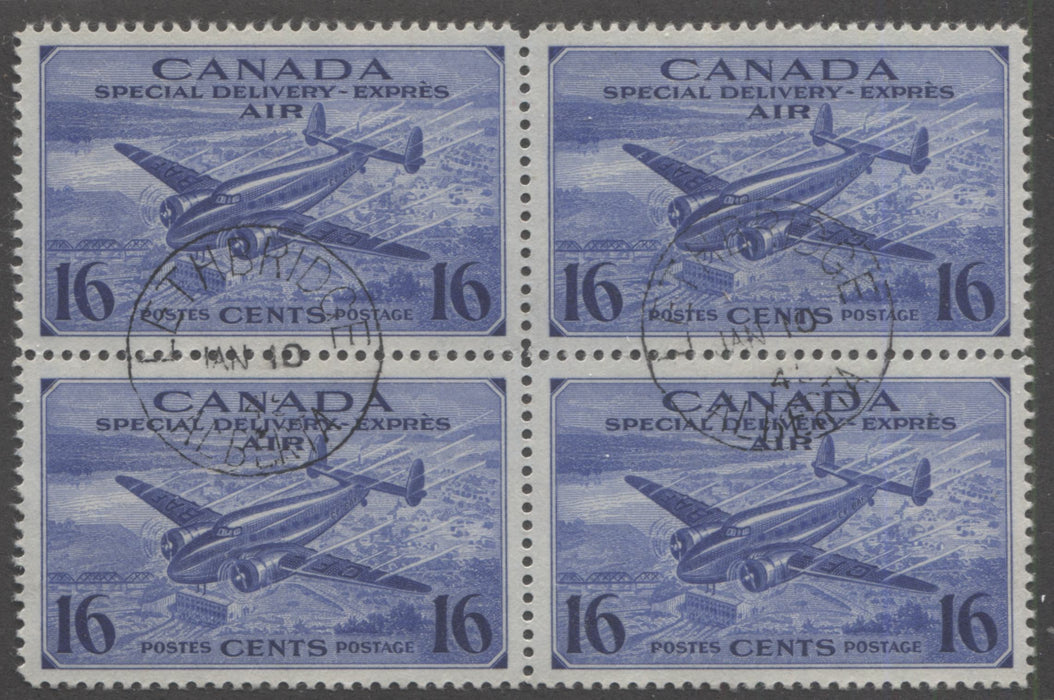 shopify auction Brixton Chrome Canada #CE1 (SG#S13) 16c Deep Bright Ultramarine 1942 Air Mail Special Delivery, A Beautiful CDS Block of 4-141547-86234