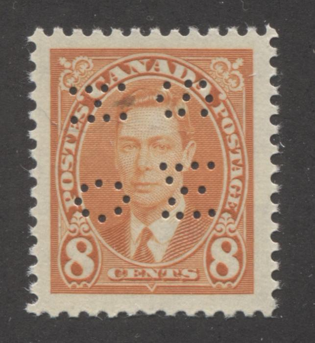 shopify auction Brixton Chrome Canada #O236 8c Orange, King George VI 1937-1942 Mufti Issue, Very Fine Mint NH Example of the Type 1 Sideways 4-Hole OHMS Perfin-141549-86236