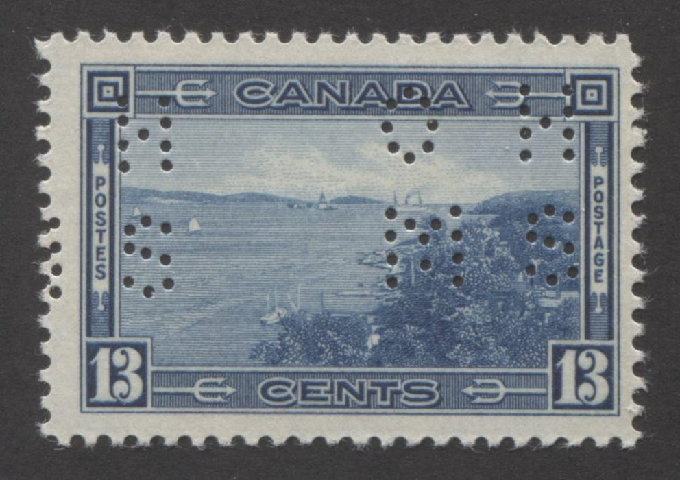 shopify auction Brixton Chrome Canada #O242 13c Steel Blue Halifax Harbour 1937-1942 Mufti Issue, Fine Mint NH Example of the Type 1 4-Hole OHMS Perfin-141550-86238