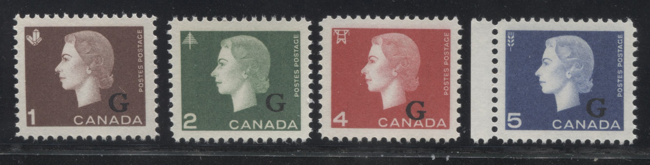 shopify auction Brixton Chrome Canada #O46-O49 1c-5c Queen Elizabeth II 1962-63 Cameo Issue Official G Overprints, a Very Fine NH Set-141565-86244