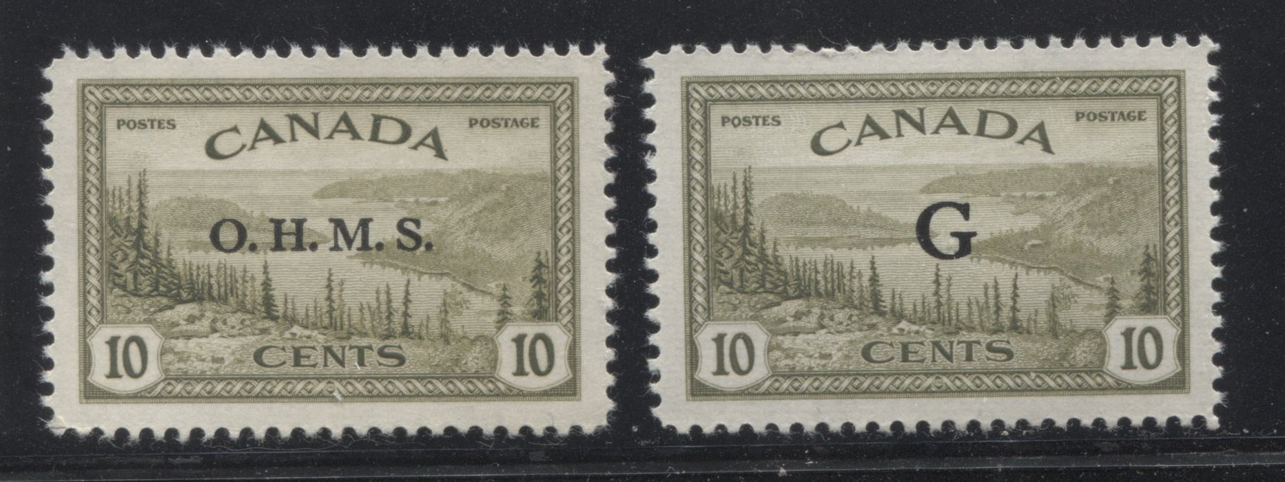 shopify auction Brixton Chrome Canada #O6, O21 10c Olive Green Great Bear Lake, 1946-1951 Peace Issue, Very Fine Mint NH Examples of the OHMS and G Overprints-145712-88846