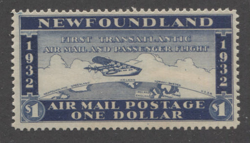 shopify auction Brixton Chrome Newfoundland # $1 Dark Blue Plane over Atlantic Ocean, 1932 Wayzata Airmail, A Very Fine Unused Example-163382-99821