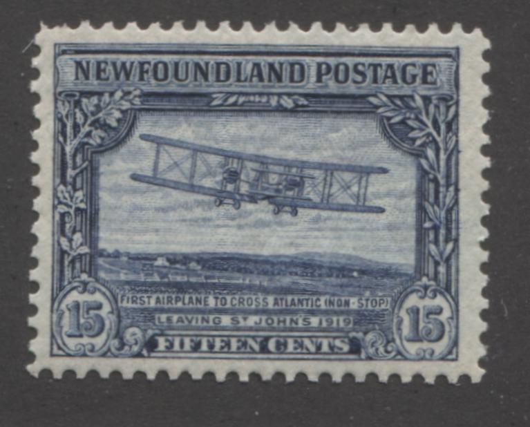 shopify auction Brixton Chrome Newfoundland #156 15c Dark Blue Biplane 1928-1929 Publicity Issue, A Fine Mint NH Example of the Line Perf. 14.2 x 14.1-141373-86209