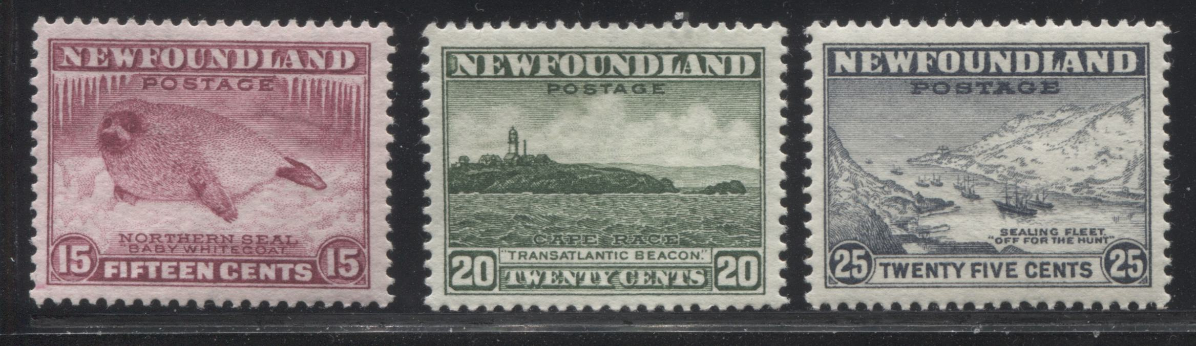 shopify auction Brixton Chrome Newfoundland #195-197 15c Claret - 25c Slate Grey 1932-1939 First Resources Issue, Three Very Fine OG Examples-145634-88867