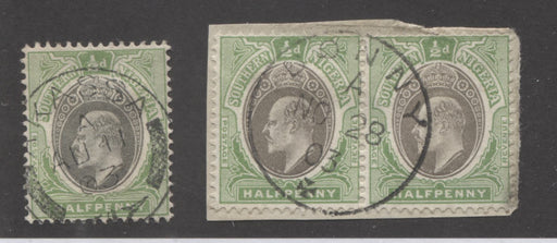 Southern Nigeria SG#10 Grey and Pale Green, King Edward VII, Single Crown CA Keyplate Issue, SON Akassa and Bonny CDS Cancels Brixton Chrome