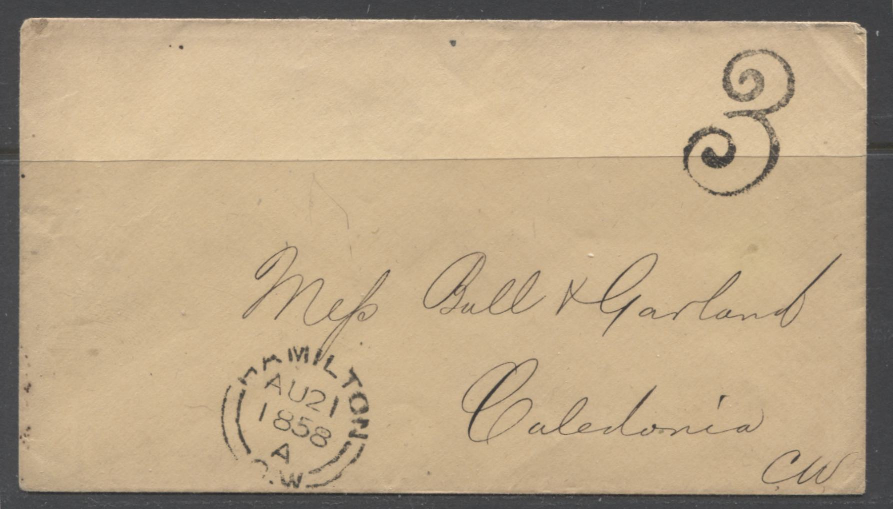 Superb 1858 Stampless Cover Sent From Hamilton to Caledonia Brixton Chrome