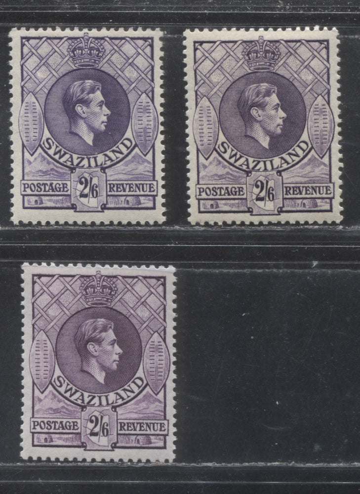 Swaziland SG#36-36b 2/6d Violet, 1938-1954 King George VI Definitive Issue, VFLH Examples of the Three Listed Printings